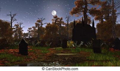 Abandoned graveyard at moonlight night 4K - Abandoned...