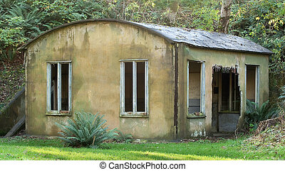Abandoned Guard Station, Fort Columbia (color) - Abandoned...