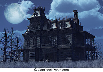 An old abandoned, boarded up house sits surrounded by dry weeds on a moonlit night - 3D render.