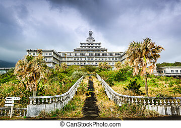 Abandoned Hotel - Abandoned hotel building ruins on ...
