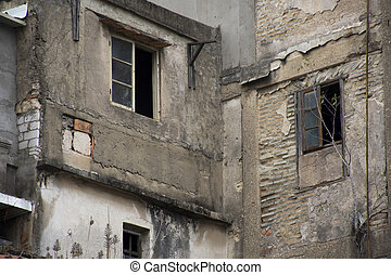 Abandoned house and old commercial buildings in old town area at Shantou downtown or Swatow city in Guangdong, China