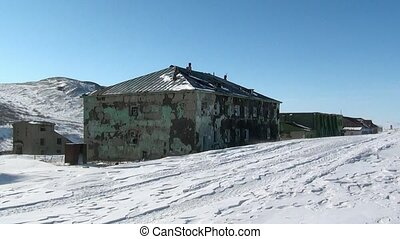 Abandoned house ghost town of Gudym Anadyr-1 Chukotka of far...
