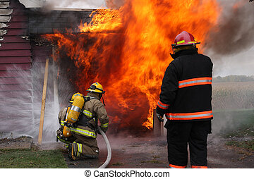 Abandoned House in flame - Abandoned house in flame with...
