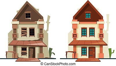 Abandoned house. Repair old building exterior of cottage fixing architectural object new house vector flat pictures