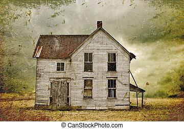 abandoned house - Illustration of weathered abandoned house...