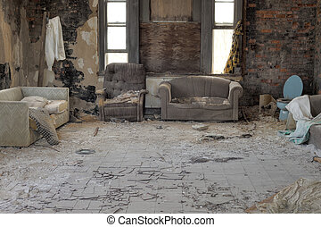 Abandoned-house - Urbex, abandoned house interior with ...