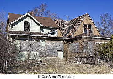 Abandoned houses in Gary, Indiana.