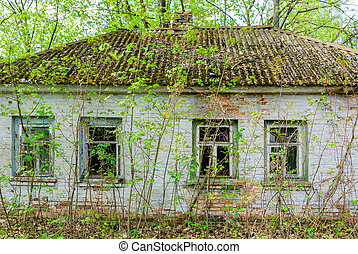 Abandoned houses in the city of Pripyat. Ukraine April 27, 2019
