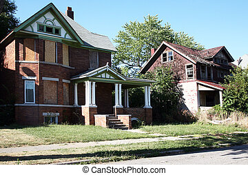 Abandoned houses - Once a stately neighborhood, it is now...