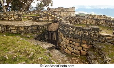 Abandoned incan hut left in ruins on Machu Picchu