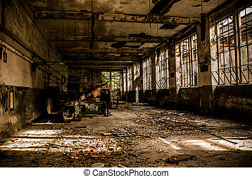 abandoned industrial building - monochrome style image