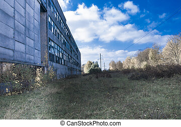 abandoned industrial facility in Ternopil in autumn