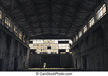 Abandoned industrial hall in Romania, interior view