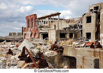 Ruins on the abandoned island of Gunkanjima off the coast of Nagasaki Prefecture, Japan.