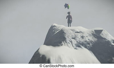 Abandoned little girl holding balloons on top of a mountain...