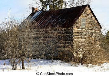 Abandoned log home