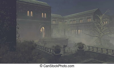 Abandoned medieval mansion at night - Courtyard of the scary...