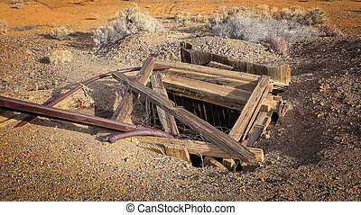 Abandoned Mine Shaft in Western Gold Rush Town