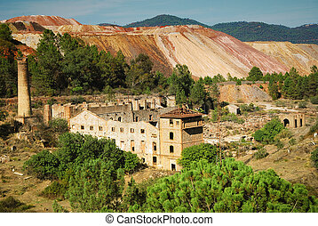 Abandoned mine with tower and ruins