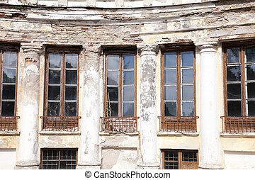 abandoned old building - abandoned old crumbling building in...