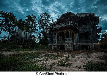 abandoned old house - abandoned wood old house on twilight