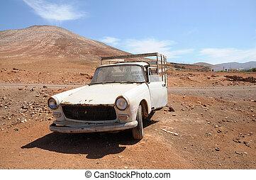 Abandoned old pickup car on Fuerteventura