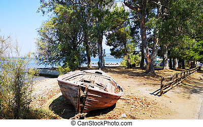 Abandoned old rusty wooden boat on the shore
