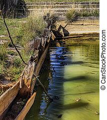 Abandoned outdoor mineral water basin in Balvanyos, Romania