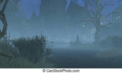 Abandoned park at misty night