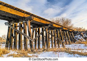 abandoned railroad timber trestle - St Vrain Creek near ...