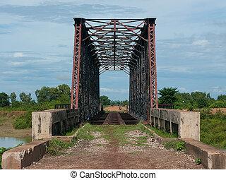 Abandoned railway bridge in Sisophon, Cambodia