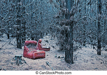 Abandoned red chair in the wintry pine forest