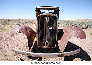 abandoned retro american car in desert