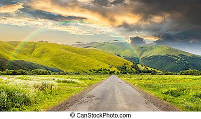 abandoned road through meadows in mountain - composite...