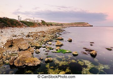 Abandoned rocky shore near the sea, Chersonese
