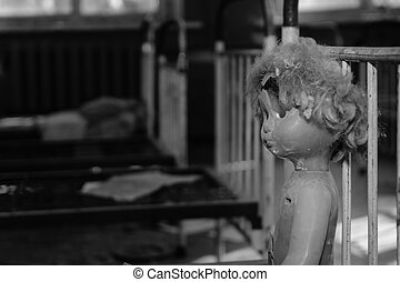 Abandoned room after the disaster. Children's toys in the dirt in an abandoned kindergarten in Chernobyl