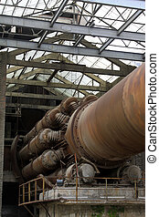 abandoned rotary kiln, in a cement plant