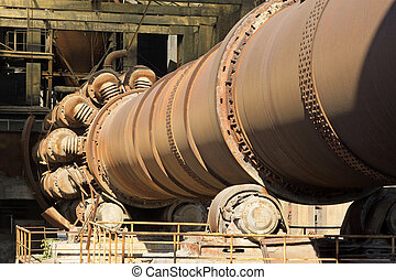 abandoned rotary kiln in the Qixin cement plant, tangshan...
