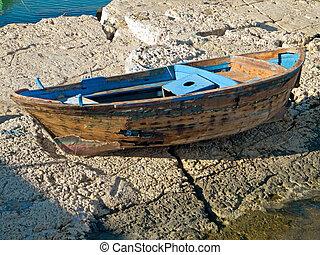 Abandoned rowboat.