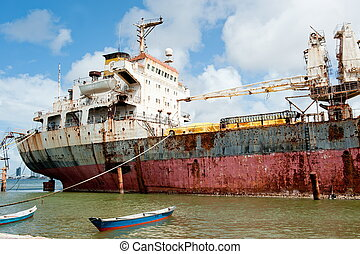 Abandoned Ship - abandoned ship moored in the harbor