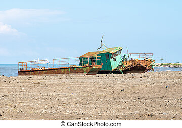 Abandoned ship on the Black Sea coast