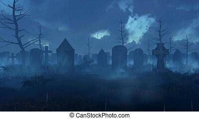 Abandoned spooky cemetery at dark rainy night