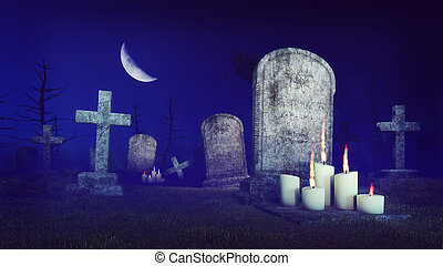 Abandoned spooky cemetery at moon night