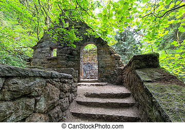 Abandoned Stone House with Maple Trees at Wildwood Trail