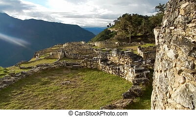 abandoned structures and walls built by Incans - shot taken...
