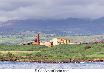 Abandoned sugar mill on coast of Kauai