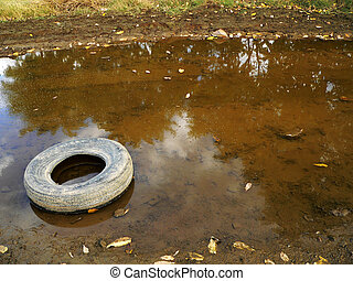Abandoned Tire - An abandoned car tire rests in a mud puddle