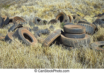 Abandoned tires in field.