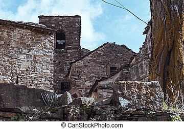 Abandoned town with houses destroyed by the passage of time...