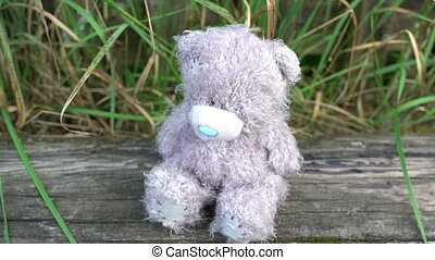 Abandoned Toys grey sad bear sitting on old style country...